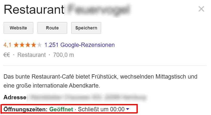 Lokale-Kundengewinnung für Restaurants mehr Gäste für Restaurants, Marketing Vertrieb Aquise  Google my Business Google Maps Google Places, Cafe restaurant Öffnungszeiten online bei Google