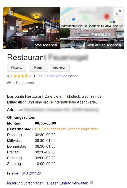 Lokale-Kundengewinnung für Restaurants mehr Gäste für Restaurants, Marketing Vertrieb Aquise  Google my Business Google Maps Google Places, Cafe restaurant Öffnungszeiten